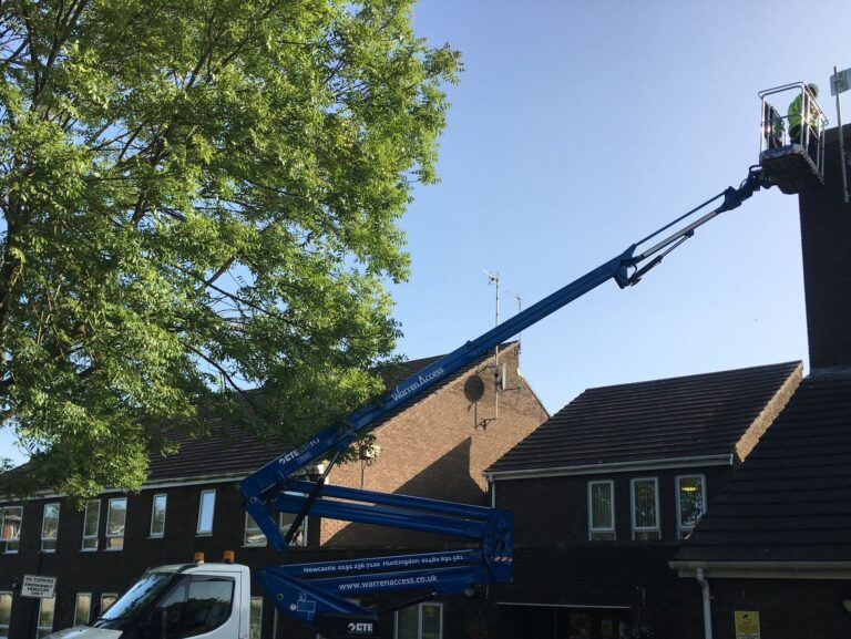 Cherry picker on hire from Warren Access for roof inspection