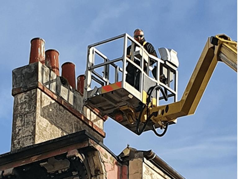 Ruthmann 33m truck mounted platform - building maintenance work