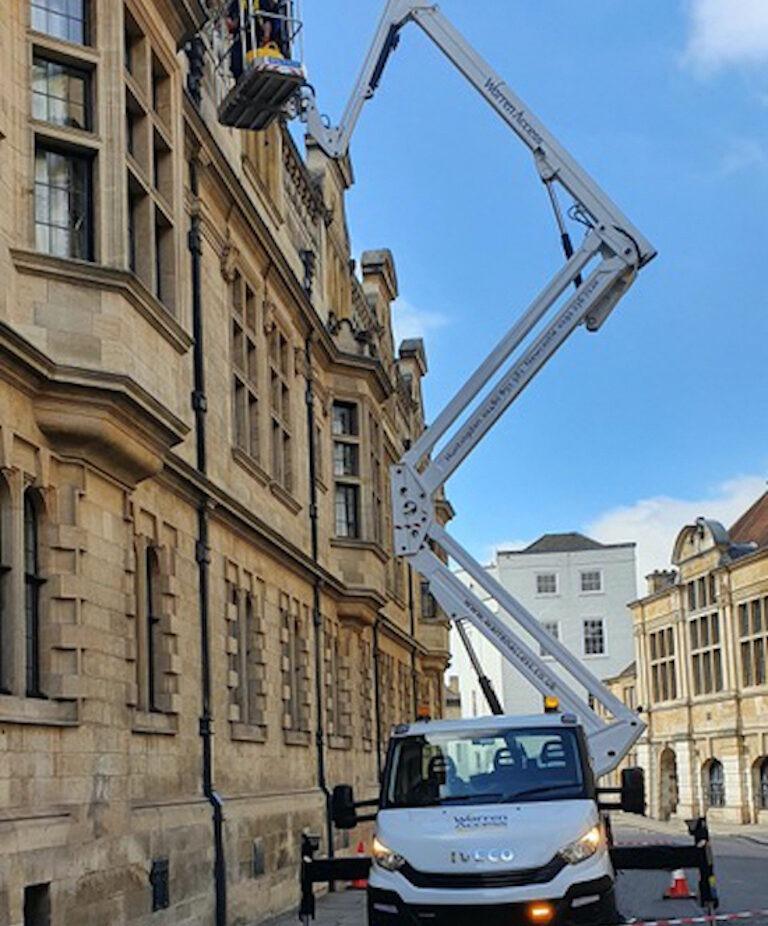 Building maintenance work in Cambridge with the CTE truck mounted platform - Warren Access.
