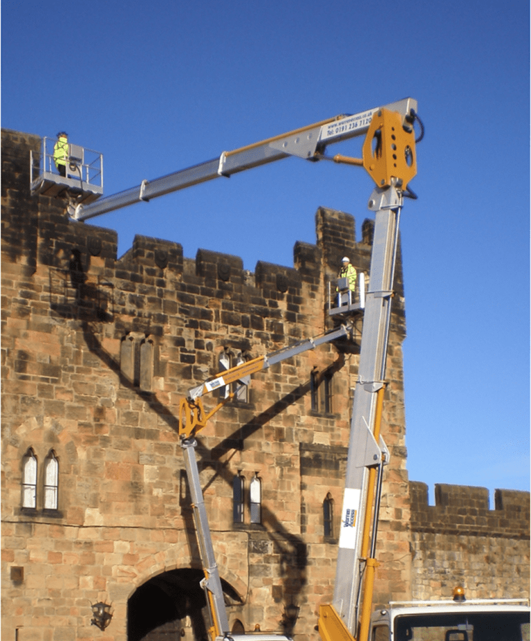 27m Multitel MX270 working at Alnwick Castle - building inspection
