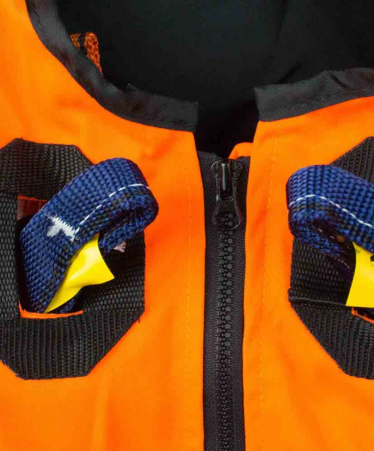 Orange Jacket Safety Harness Front Attachment