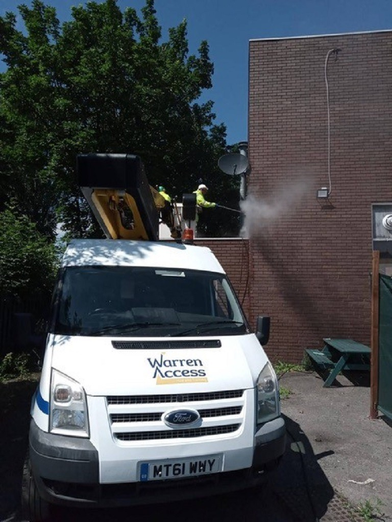 Graffiti removal for Newcastle City Council with van mounted platform from Warren Access